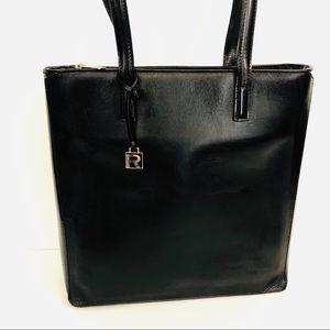 Ralph Lauren black leather shoulder tote bag